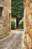 Cobble stone street path on a medieval location Stock Photo