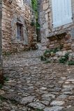 Cobble stone streets, oppede le vieux , french hilltop village . Cobble stone streets, Oppede le vieux ,old hill top village in the south of france , provence Royalty Free Stock Photography