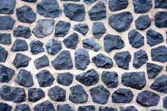 Cobble stone wall. Harbour wall in Amsterdam, all made of cobble stones stock image