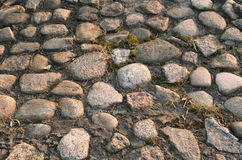 Cobble-stones. Old cobblestone road Royalty Free Stock Photos