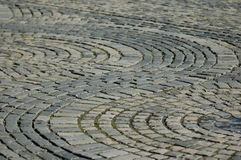 Cobble stones in a circular pattern. In the north of England, UK royalty free stock photography