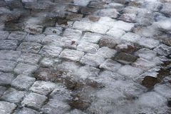 Cobble stones covered in ice Royalty Free Stock Image