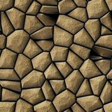 Cobble stones irregular mosaic pattern seamless background - pavement beige natural colored Royalty Free Stock Photography