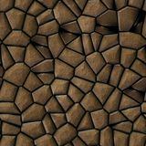 Cobble stones irregular mosaic pattern seamless background - pavement brown colored Stock Photography