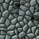 Cobble stones irregular mosaic pattern seamless background - pavement dark gray colored Royalty Free Stock Photo