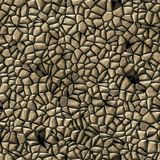 Cobble stones irregular mosaic pattern seamless background - pavement natural beige colored Royalty Free Stock Photo