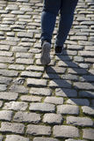 Cobble Stones and Person Walking, Saragossa, Aragon Royalty Free Stock Image