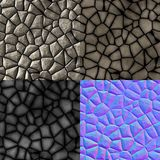 Cobble stones seamless generated texture (diffuse, bump, normal) Stock Photos