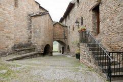 Cobble Straat - Ainsa - Spanje royalty-vrije stock foto
