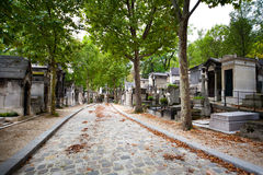 Cobbled alley at Pere Lachaise cemetery Royalty Free Stock Photography