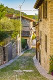 Cobbled alleys of a medieval village Stock Image