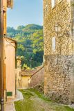 Cobbled alleys of a medieval village Stock Photos