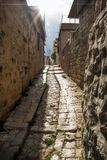 Ancient streets with sunbeam in traditional town Deir el Qamar, Lebanon stock photos