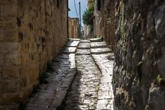 Ancient streets in traditional town Deir el Qamar, Lebanon royalty free stock photos