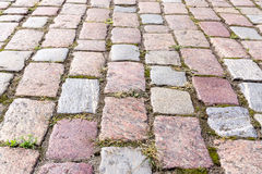 Cobbled block pavement stock images
