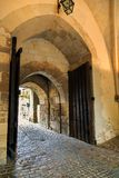 Cobbled entrance to castle Royalty Free Stock Photography