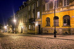 Cobbled Mostowa Street in Warsaw at Night Royalty Free Stock Photography