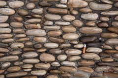 Cobbled pavement made of river rounded pebbles. Background textu Stock Photography