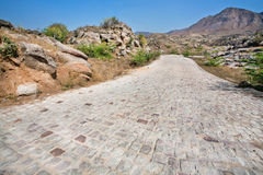Cobbled road in countryside. Without cars and trucks Stock Image