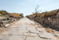 Cobbled road in the ruins of the Greek - Roman city of the 3rd century BC - the 8th century AD Hippus - Susita on the Golan Height. S near the Sea of Galilee stock photo