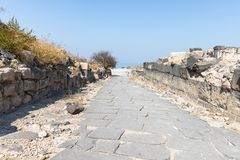 Cobbled road in the ruins of the Greek - Roman city of the 3rd century BC - the 8th century AD Hippus - Susita on the Golan Height. S near the Sea of Galilee stock image