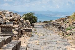 Cobbled road to the ruins of the Greek - Roman city of the 3rd century BC - the 8th century AD Hippus - Susita on the Golan Height. S near the Sea of Galilee stock photo