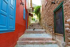 Cobbled road. View of a cobbled road at the old town of Nafplion, Greece Royalty Free Stock Photos