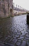 Cobbled Straße, Vertiefungen Stockfotografie