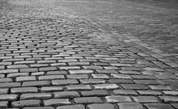 Cobbled Street. Old Cobbled Street detail in black and white royalty free stock photos