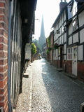 Cobbled street. Leading up to the village church Royalty Free Stock Photography