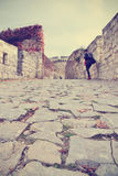 Cobbled street in Belgrade fortress in early fall Royalty Free Stock Photos