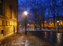 Cobbled street in city center of Krakow, Poland. Royalty Free Stock Images