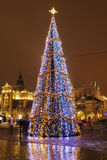 Cobbled street in city center of Krakow, Poland. Cobbled street in city center. Winter evening stock photography