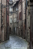 Cobbled street on a cloudy day Royalty Free Stock Images