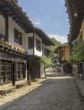 Cobbled street in Etar Bulgaria royalty free stock image