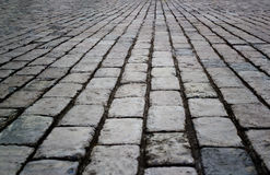 Cobbled street floor tile old brick style as background Royalty Free Stock Photos