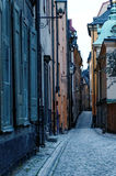 Cobbled street in Gamla Stan. Narrow cobbled street in Gamla Stan, Stockholm, Sweden Royalty Free Stock Photography