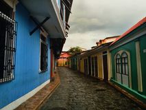 Colorful houses on a cobbled street royalty free stock images