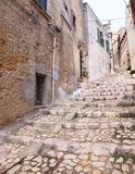 Cobbled street in Matera old town Royalty Free Stock Photography