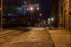 Cobbled Street at Night royalty free stock images
