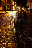 Cobbled street night rain B Royalty Free Stock Image