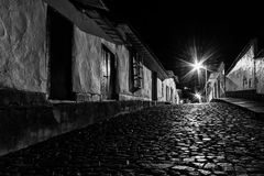 Cobbled Street by Night. San Francisco de Macaira by night Royalty Free Stock Photo