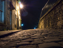Cobbled Street at night Royalty Free Stock Photography