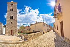 Cobbled street of Nin panoramic view Stock Photos