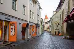 Cobbled street in old city at daytime Stock Image