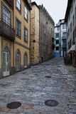 Cobbled Street in the Old Town of Porto Royalty Free Stock Photos
