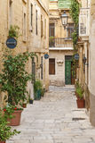 Cobbled street in valetta old town malta Stock Images