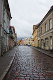 Cobbled streets of old Tallinn in rainy weather Royalty Free Stock Images