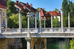 Cobbler Bridge in Ljubljana. HDR image stock photos