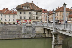 Cobbler Bridge in Ljubljana, Slovenia. Royalty Free Stock Images